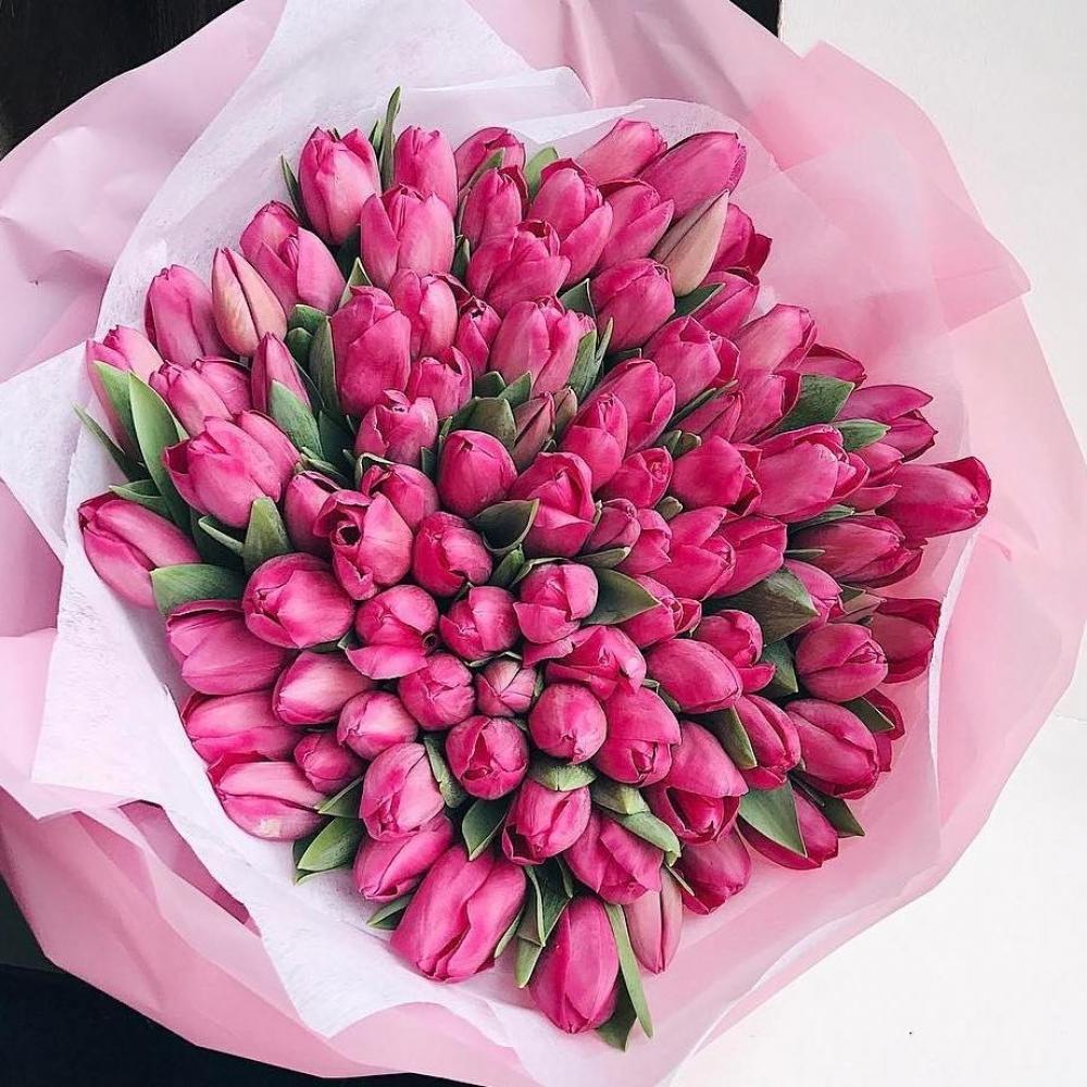 Букет из 101 ярко-розового тюльпана