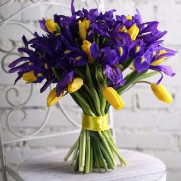 Букет из 35 ирисов и 20 тюльпанов