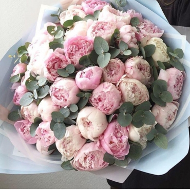 Букет из 45 розовых пионов с эвкалиптом
